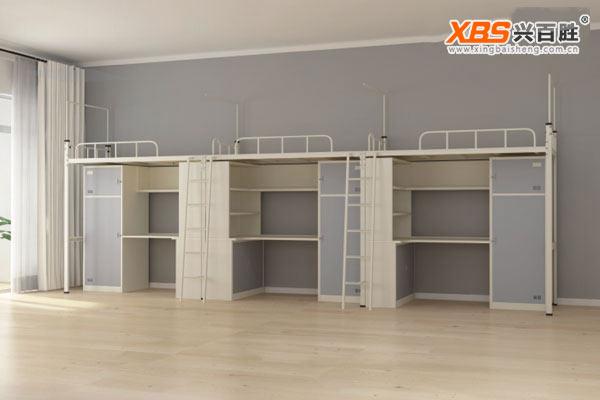 深圳兴百胜公寓床生产厂家,全拆装宿舍三人双层床,公寓床XBS26款