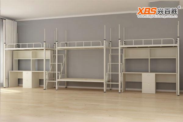 深圳兴百胜公寓床生产厂家,全拆装四人位双层公寓床XBS27款